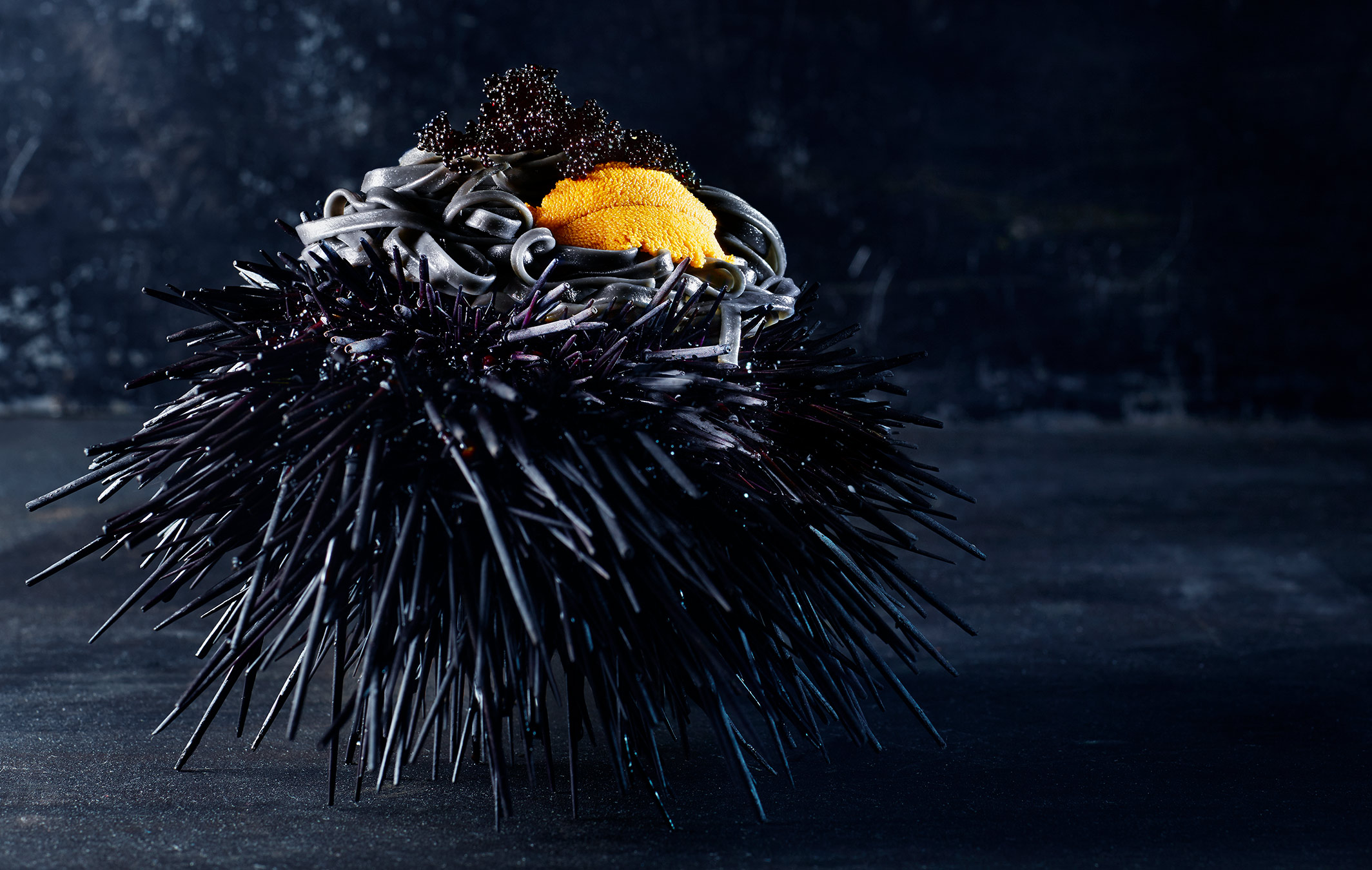 Squid Ink Linguini with Sea Urchin and Caviar