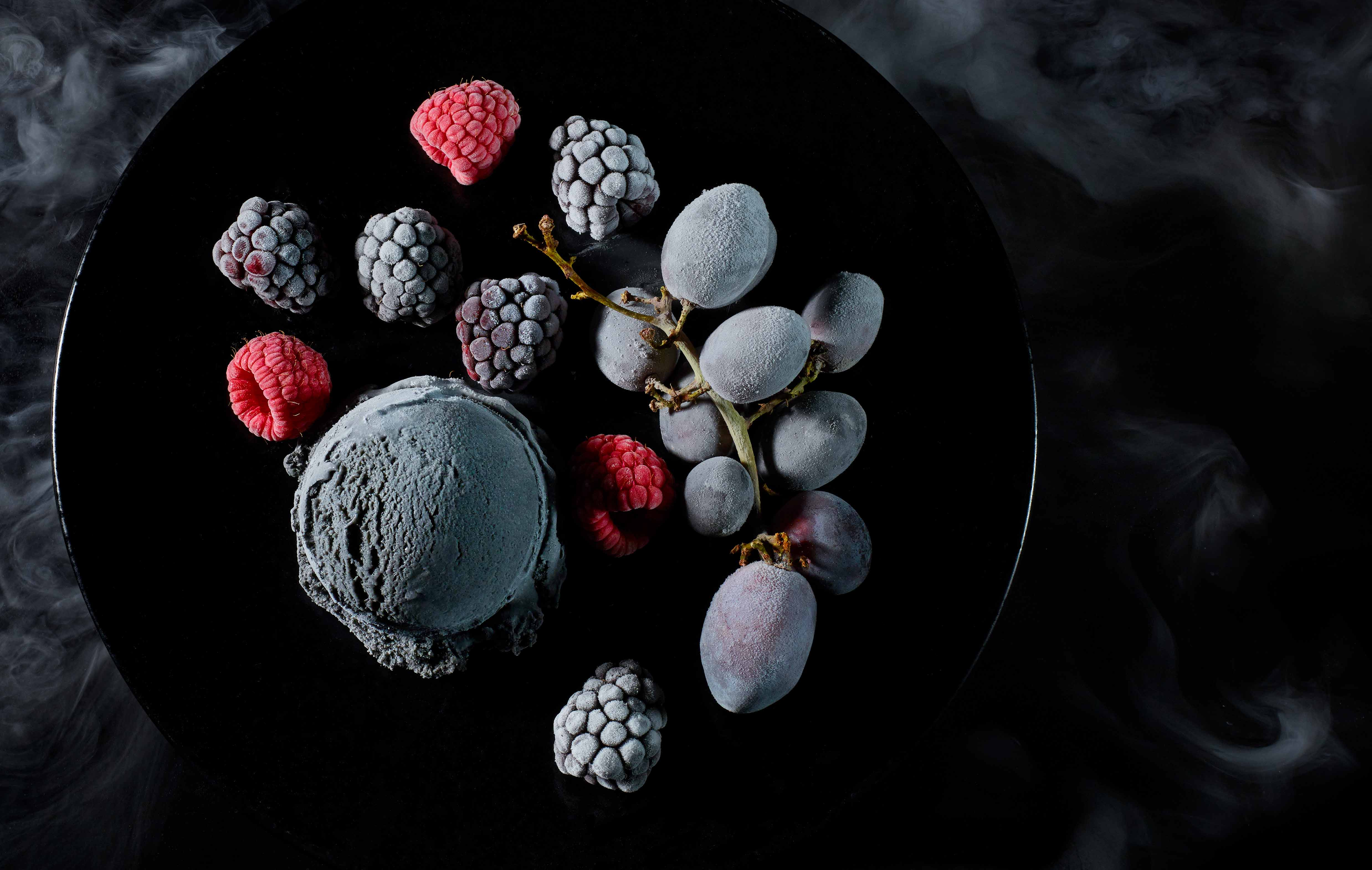 Charcoal Ice-cream with Frozen Fruits