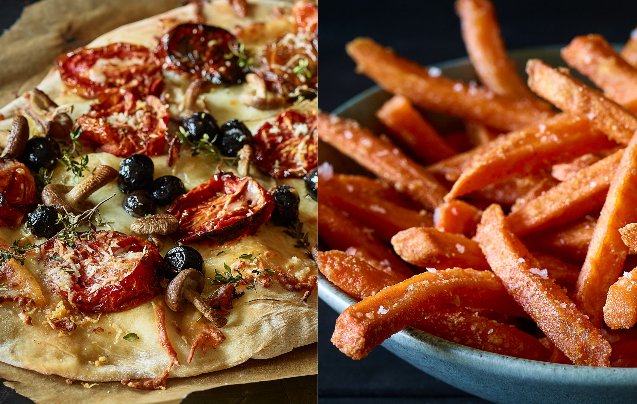 Flatbread Pizza and Sweet Potato Fries